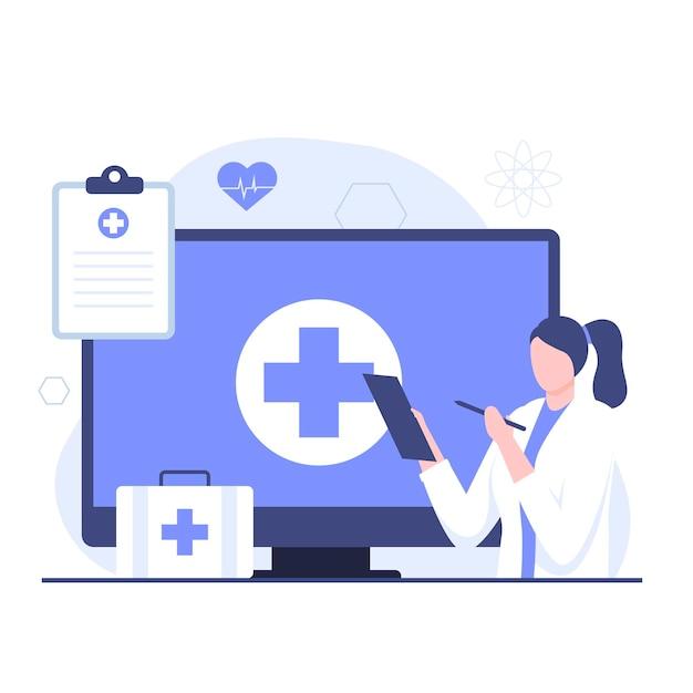 온라인 의사 개념의 평면 그림입니다. 웹사이트, 방문 페이지, 모바일 애플리케이션, 포스터 및 배너용 일러스트레이션