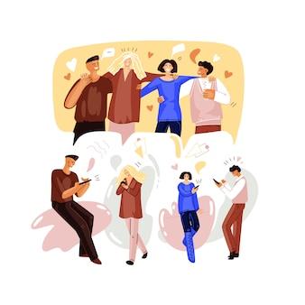 화상 회의에 친구를 만나는 온라인 파티 개념의 평면 그림.