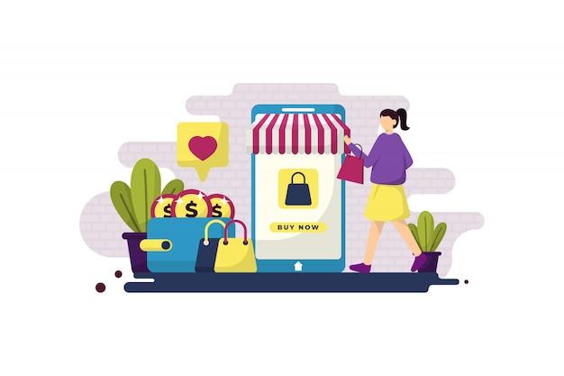 Плоская иллюстрация онлайн покупок с девушкой