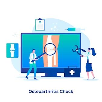골관절염 검사 개념의 평면 그림입니다. 웹 사이트, 방문 페이지, 모바일 응용 프로그램, 포스터 및 배너에 대한 그림입니다.