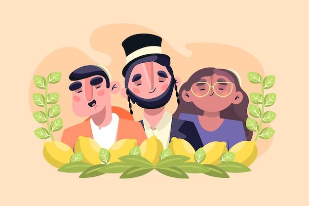 초막절을 축하하는 사람들의 평면 그림