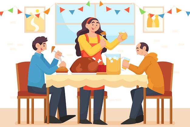 感謝祭を祝う人々のフラットなイラスト