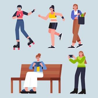 Плоский рисунок людей, занимающихся активным отдыхом