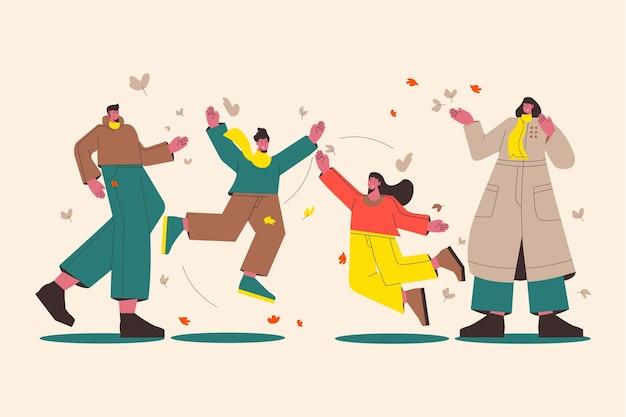 秋の天気を楽しんでいる人々のフラットなイラスト