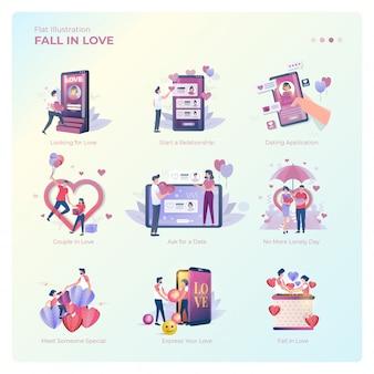 사랑 컬렉션에 빠지는 사람들의 평면 그림