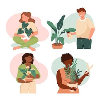 Плоский рисунок людей, заботящихся о растениях