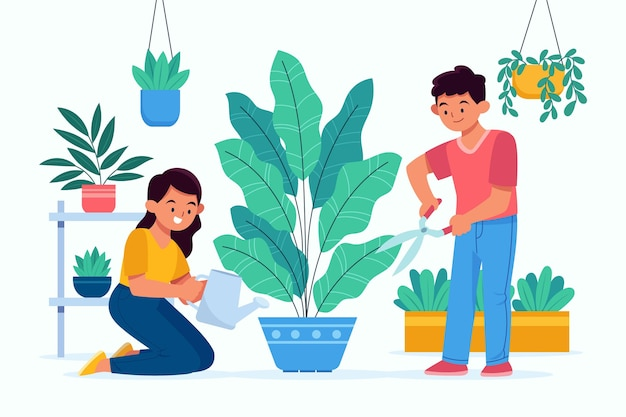 植物の世話をしている人々のフラットなイラスト 無料ベクター