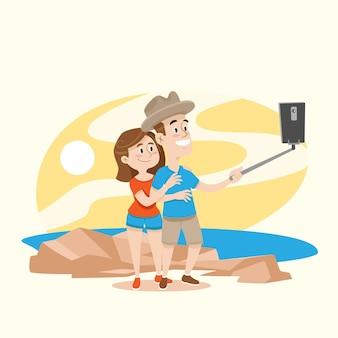 スマートフォンで写真を撮る人のフラットイラスト