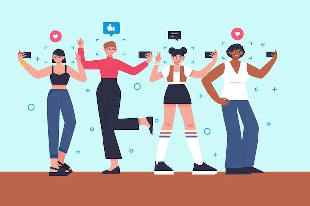 Плоская иллюстрация людей, делающих фотографии со смартфоном