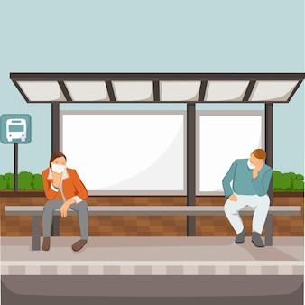 停留所でバスを待っている人々のフラットなイラスト