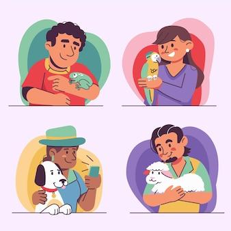 애완 동물을 가진 사람들의 평면 그림