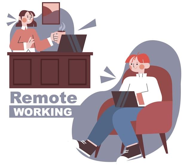 Плоский рисунок людей, работающих удаленно