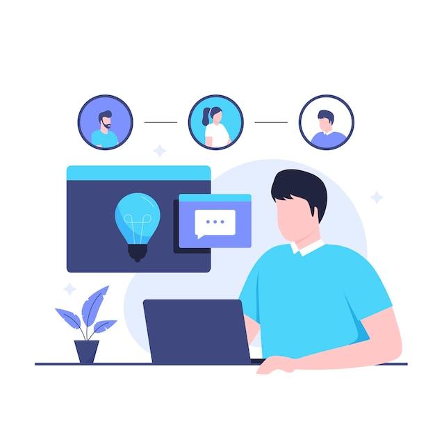 사회 지능 디자인 개념의 평면 그림입니다. 웹사이트, 방문 페이지, 모바일 애플리케이션, 포스터 및 배너용 일러스트레이션