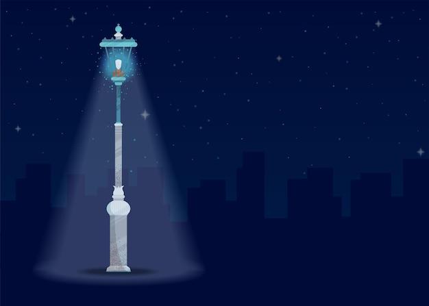 Плоская иллюстрация уличного фонаря
