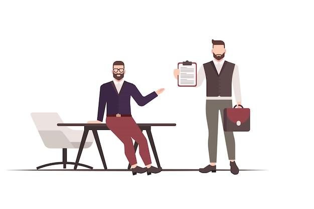 Плоская иллюстрация босса, давая задачу. дизайн бизнес-концепции