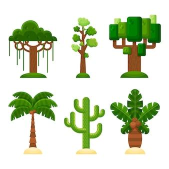 木の平らなイラスト