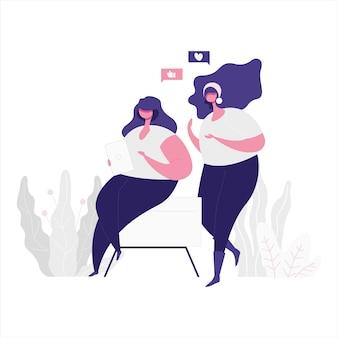 Плоская иллюстрация 2 девушек учя через традиционный и цифровой путь. интернет образование и учебная тема.