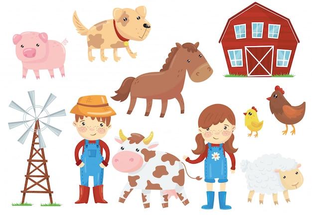 Плоская иллюстрация различного домашнего скота домашних животных, птиц, детей в синей рабочей спецодежде, ветряного насоса, деревянного сарая. фермерская тема. набор иконок мультфильмов