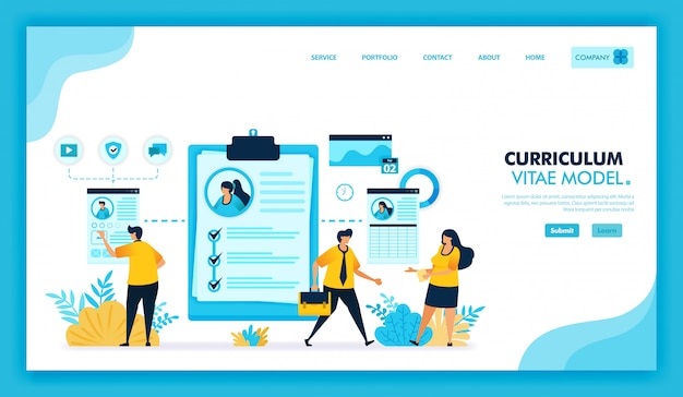Flat illustration of online curriculum vitae and online cv to register and find work