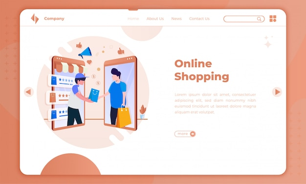 Flat illustration online shopping application on landing page
