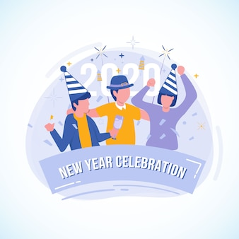 Flat illustration of party with friends for the new year celebration