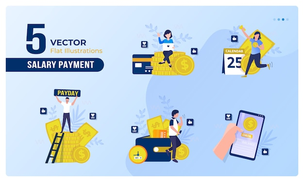Flat illustration of payday on collection set