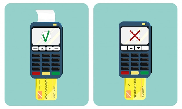 Flat illustration of the payment terminal and credit card