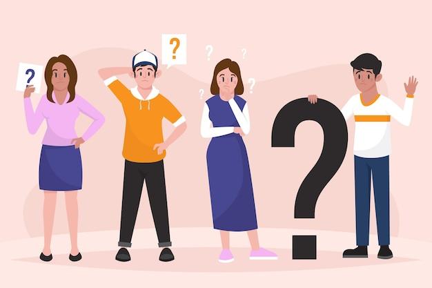 質問をするフラットイラストの人々