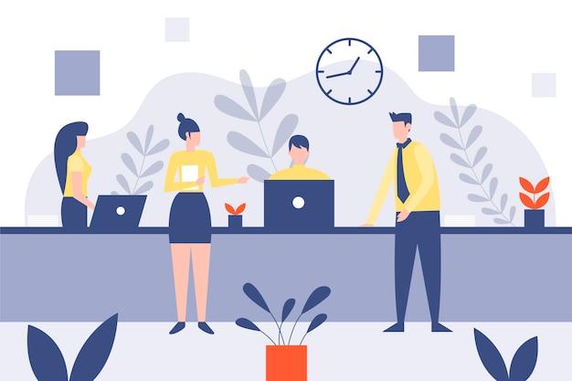 Flat illustration people on business training