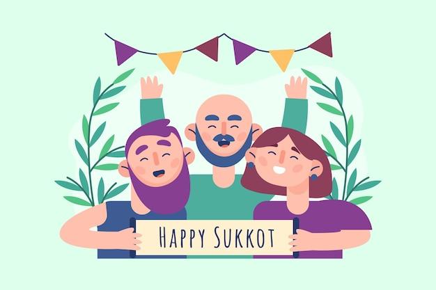 Illustrazione piatta di persone che celebrano sukkot