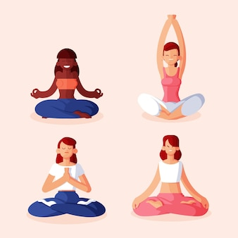 Raccolta di persone illustrazione piatto meditando