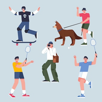 Flat illustration of people doing outdoor activities