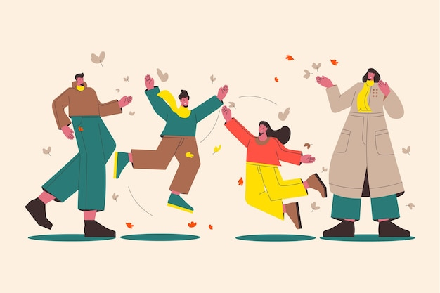 Illustrazione piatta di persone che si godono il clima autunnale