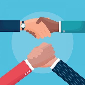 Flat illustration people handshake