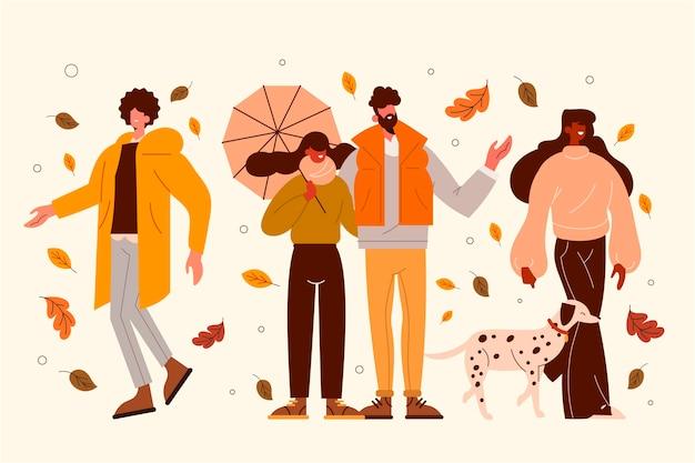 秋のフラットイラストの人々