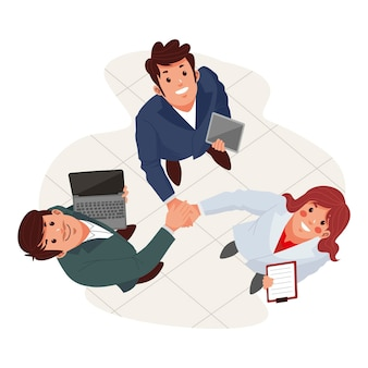 Flat illustration of people looking up