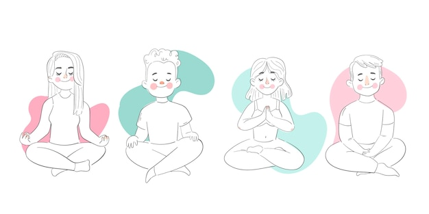 Плоские иллюстрации люди медитируют