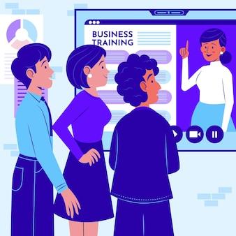 ビジネストレーニングのフラットイラストの人々