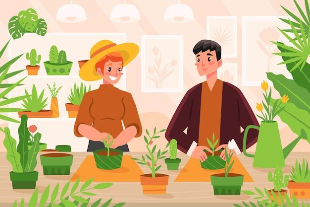 Плоские иллюстрации люди, заботящиеся о растениях