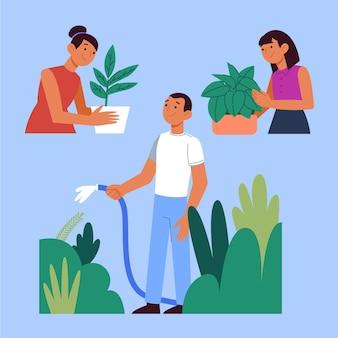 Illustrazione piana di persone che si prendono cura delle piante