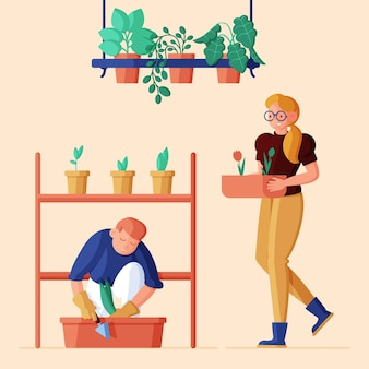 Flat illustration of people taking care of plants