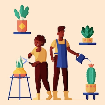 Flat illustration of people taking care of plants Premium Vector