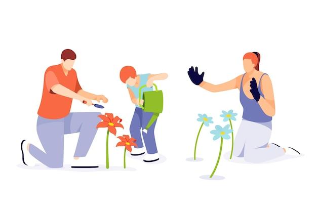 Illustrazione piatta di persone che si prendono cura delle piante