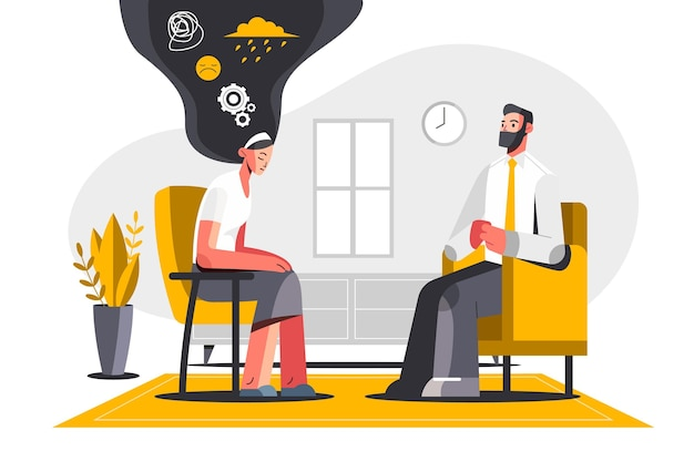 Flat illustration of people with mental health problems