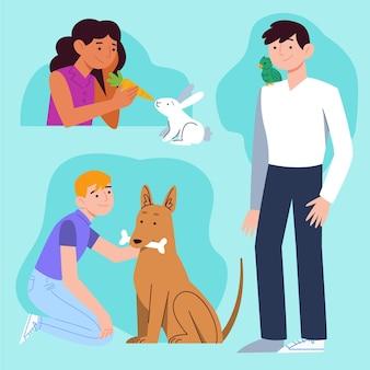 Illustrazione piana di persone con animali domestici