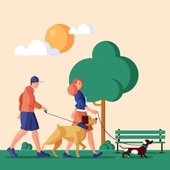 Illustrazione piatta di persone con animali domestici