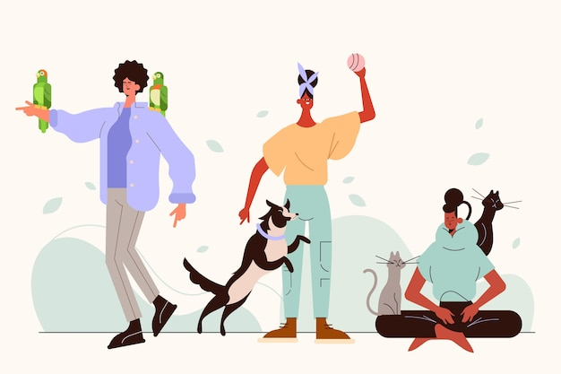 Flat illustration of people with pets