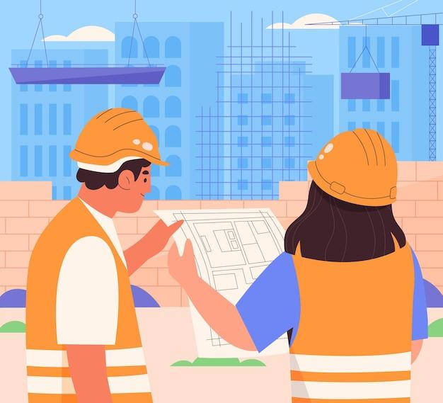 건설에 일하는 평면 그림 사람들