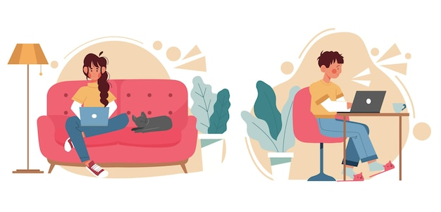 Flat illustration of people working remotely