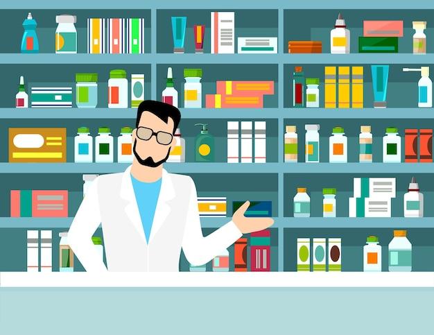 Плоская иллюстрация фармацевта у прилавка в аптеке напротив полок с лекарствами. концептуальный фон здравоохранения